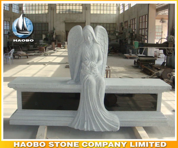 Carved Granite Headstone Sitting Angel Memorial Bench
