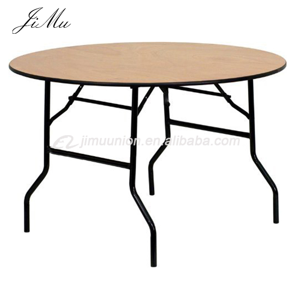 Hospitality Wedding Party Tables Wedding Banquet Events Used Plywood Round  Folding Tables PVC Edge For Sale