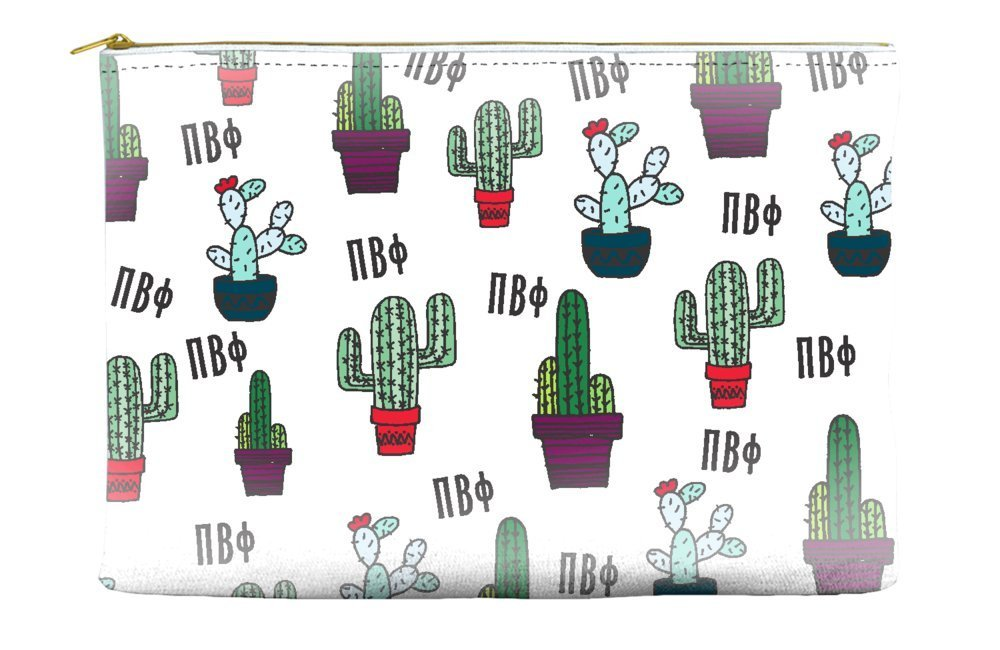 Pi Beta Phi (Pi Phi) Cactus Pattern White Cosmetic Accessory Pouch Bag for Makeup Jewelry & other Essentials