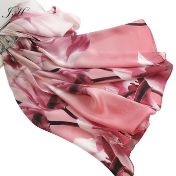 2019 Luxury 100% Pure Silk Floral Printed Long Scarf Ladies Fashion Shawls Stoles Wrap