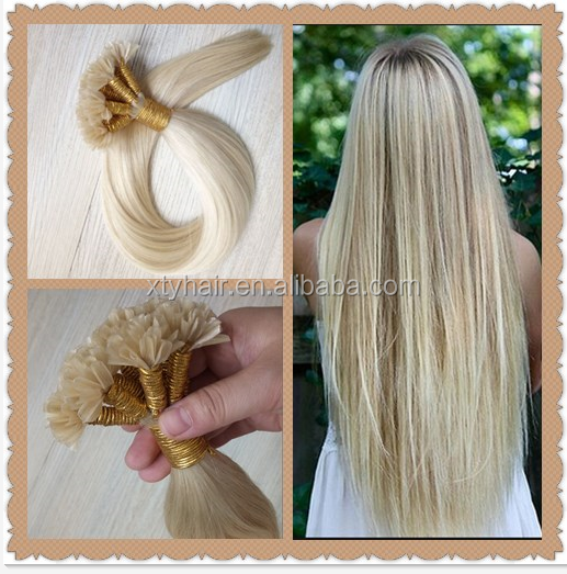 Alibaba express nail tip hair extensios, artificial nail tip hair extensions, u tip hair extension with blonde color