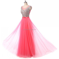 100% Real Sample Illusion Neck Beaded Long Red/Pink/Blue/Green Cheap Bridesmaid Dresses Custom Made Party Gowns