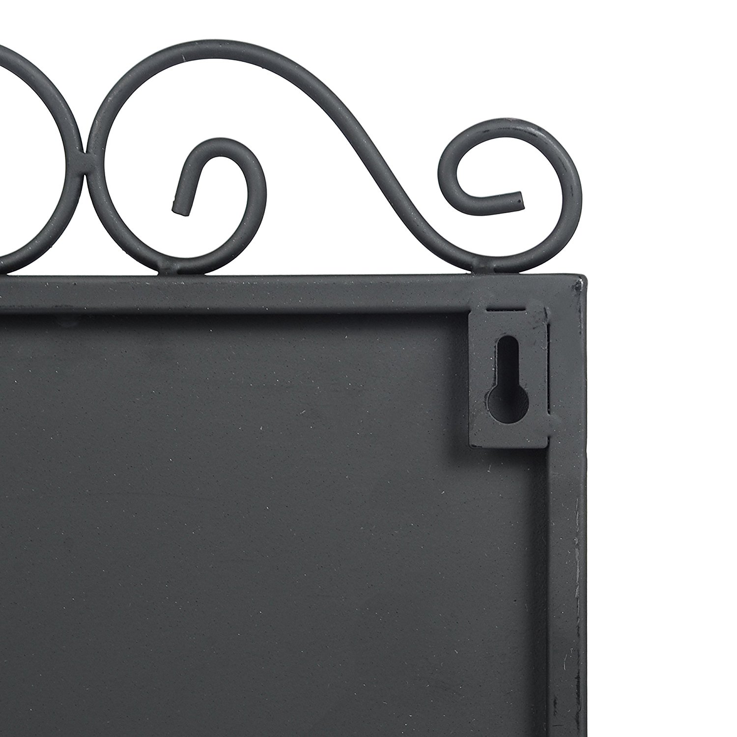 Wall Mounted Black Metal Scrollwork Design Erasable Chalkboard Memo Sign w/ Chalk Holder & 4 Key Hooks