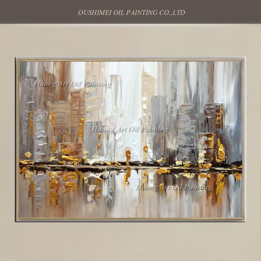 3094 50 De Descuentooriginal Pintado A Mano Cuchillo Moderno Edificio Paisaje Pintura Al óleo Pared Decoración Calle Paisaje Para La