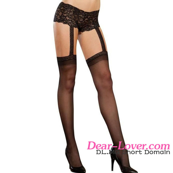 1pc Black Lace Garter Short SheerJapanese Girls Nylon Stockings