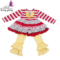 Winter Persnickety Wholesale Boutique Baby Clothes Cotton Baby Ruffle Pant Long Sleeve Children's Clothing Set