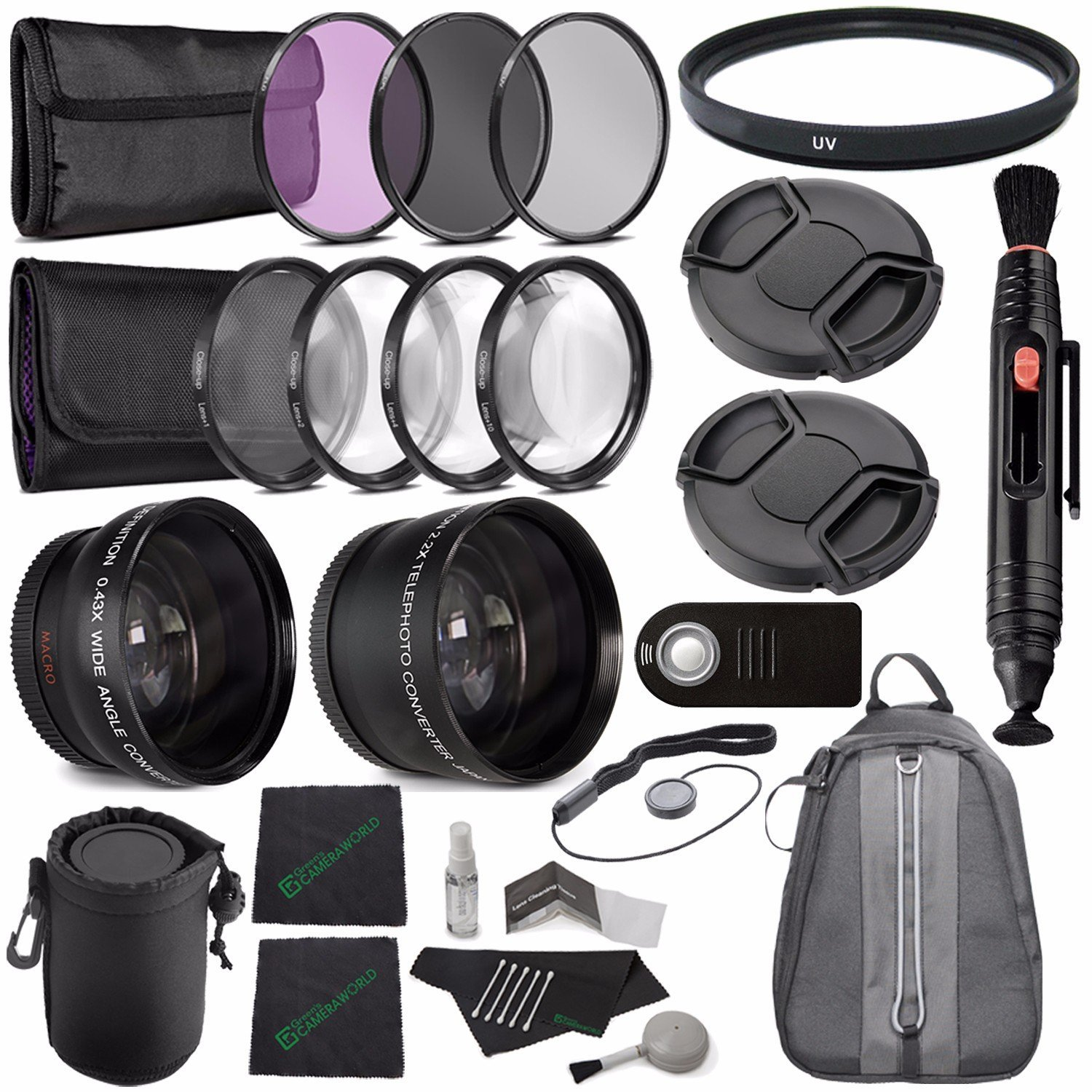 Canon 25mm, 27mm, 30, 30.5mm with a 0.5x Wide Angle Lens Samsung GFM Digital Conversion Lens Kit JVC and other brand Camcorders 2.0x Telephoto Lens and 4 Adapter Rings for Sony