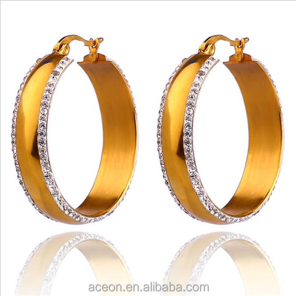 Yiwu Aceon Stainless Steel Gold Wide Crystal Hoop Earring