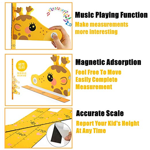 YIYAO 3D Musical Kids Growth Chart Magnetic Height Ruler Movable Measurer Wall Sticker