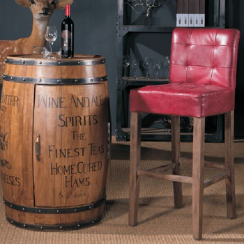 Imdustrial Oak Wood Antique Leather Bar Stool
