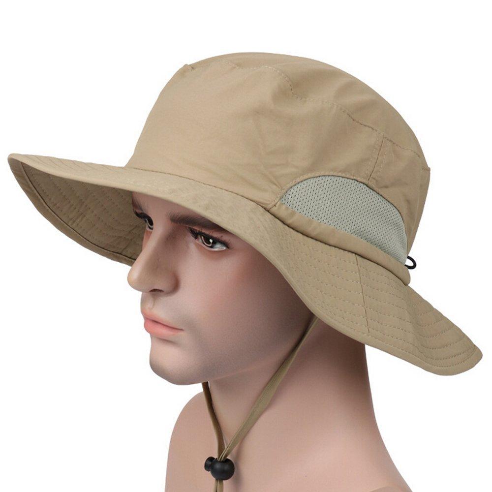 c3cbd6cce4a Ezyoutdoor Unisex Outdoor Quick-dry UPF50+ Fishing Hat Big Brimmed Boonie  Cap Cowboy Bucket Hat