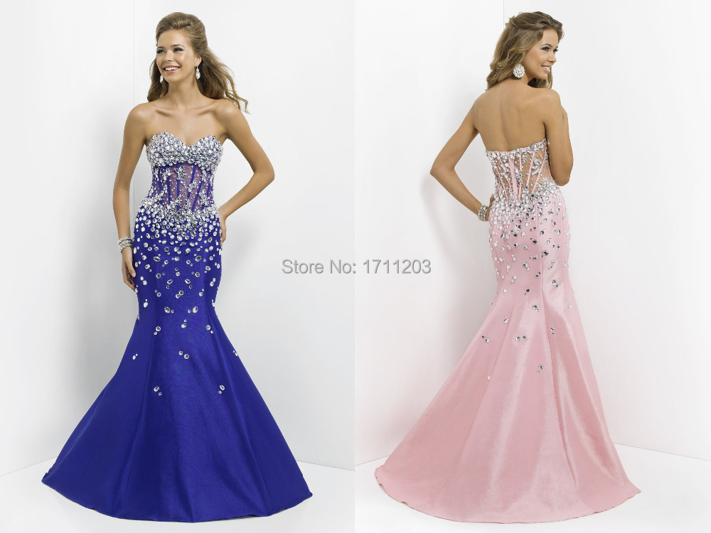 Amazing Royal Blue Pink Mermaid Prom Dresses With Heavy Crystal 2015 Famous Desiger Backless See Through Waist Maxi Dress Party