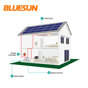 bluesun solar panel system 10000w 10kw 10 kva solar power system battery solar system 10kw home use