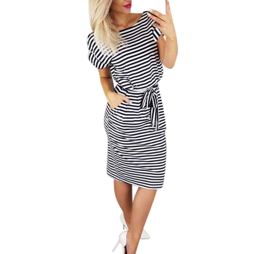 Hot Sale! Women Dress Daoroka Striped Short Sleeve Casual Summer Tie Waist Beach Sundress A Line Swing Knee-Length Mini Dress (M, Black)
