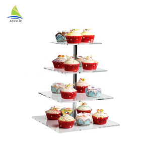 4 tier square clear acrylic cupcake display stand