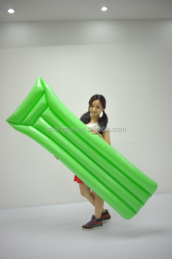 Green Pvc Inflatable Simple Lilo Floating Mattress For Water Play float Equipment