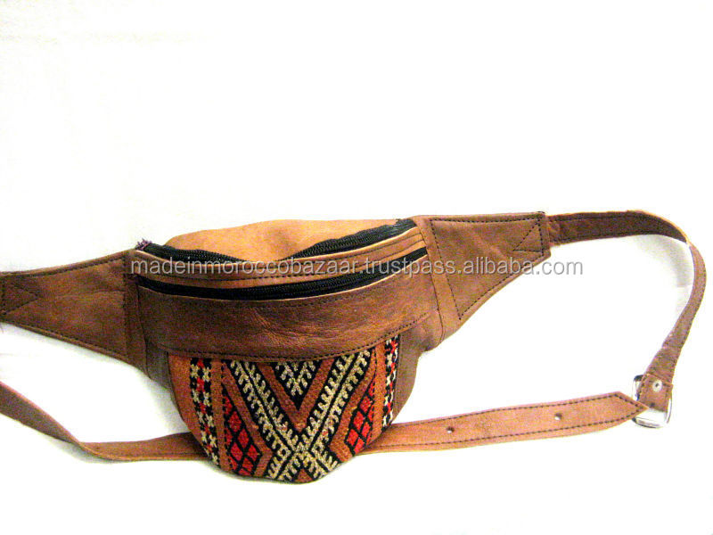 Best Quality Moroccan Handmade Kilim And Leather Bum Money Hip Belt Bag