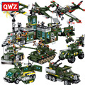 QWZ Military Series Aircraft Artillery Combat Zone Bomb Headquarters Model Building Block DIY Assembly Bricks Kids