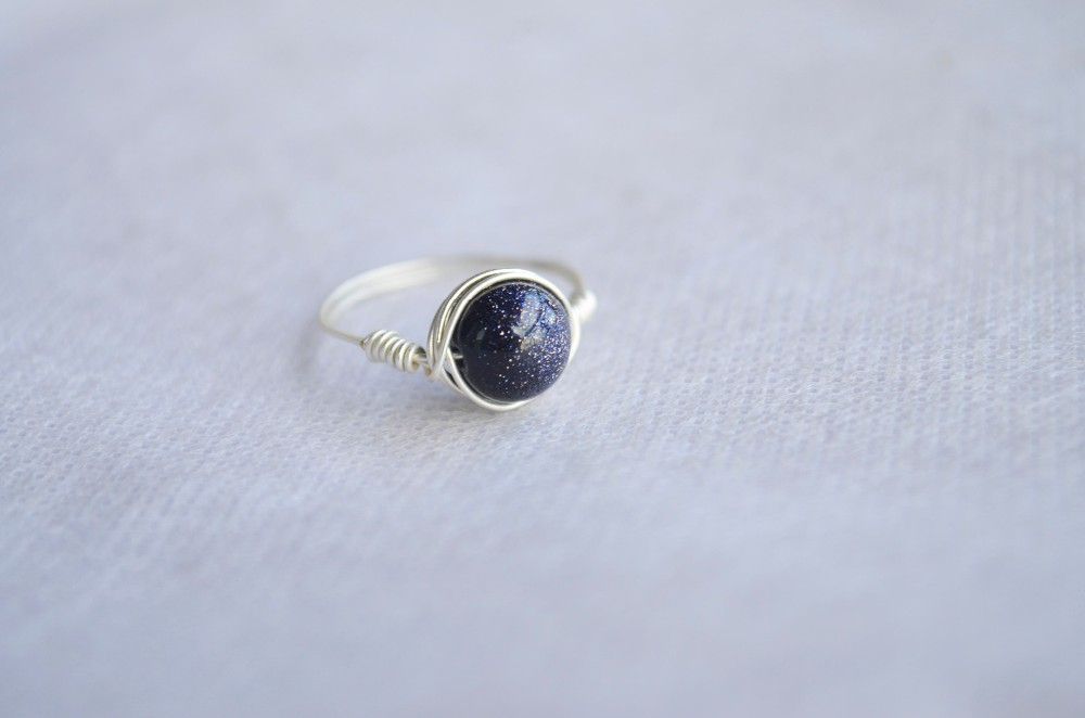 Blue Goldstone Gemstone Natural Birthstone Solitaire Silver Wire Wrapped Rings