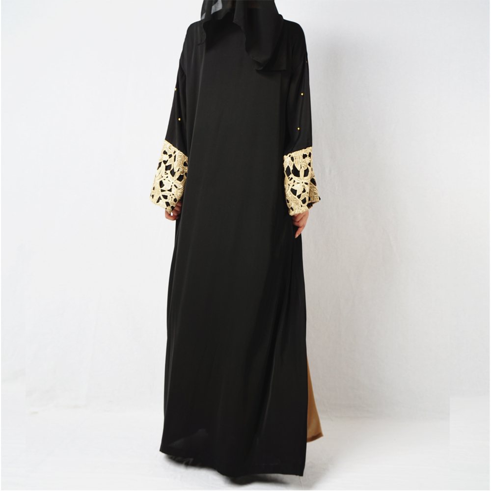 Promotional Loose winter islamic abaya kimono black women long with lace and batwing sleeve front open beading dubai abaya dress