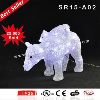 outdoor led acrylic polar bear christmas decoration with led light