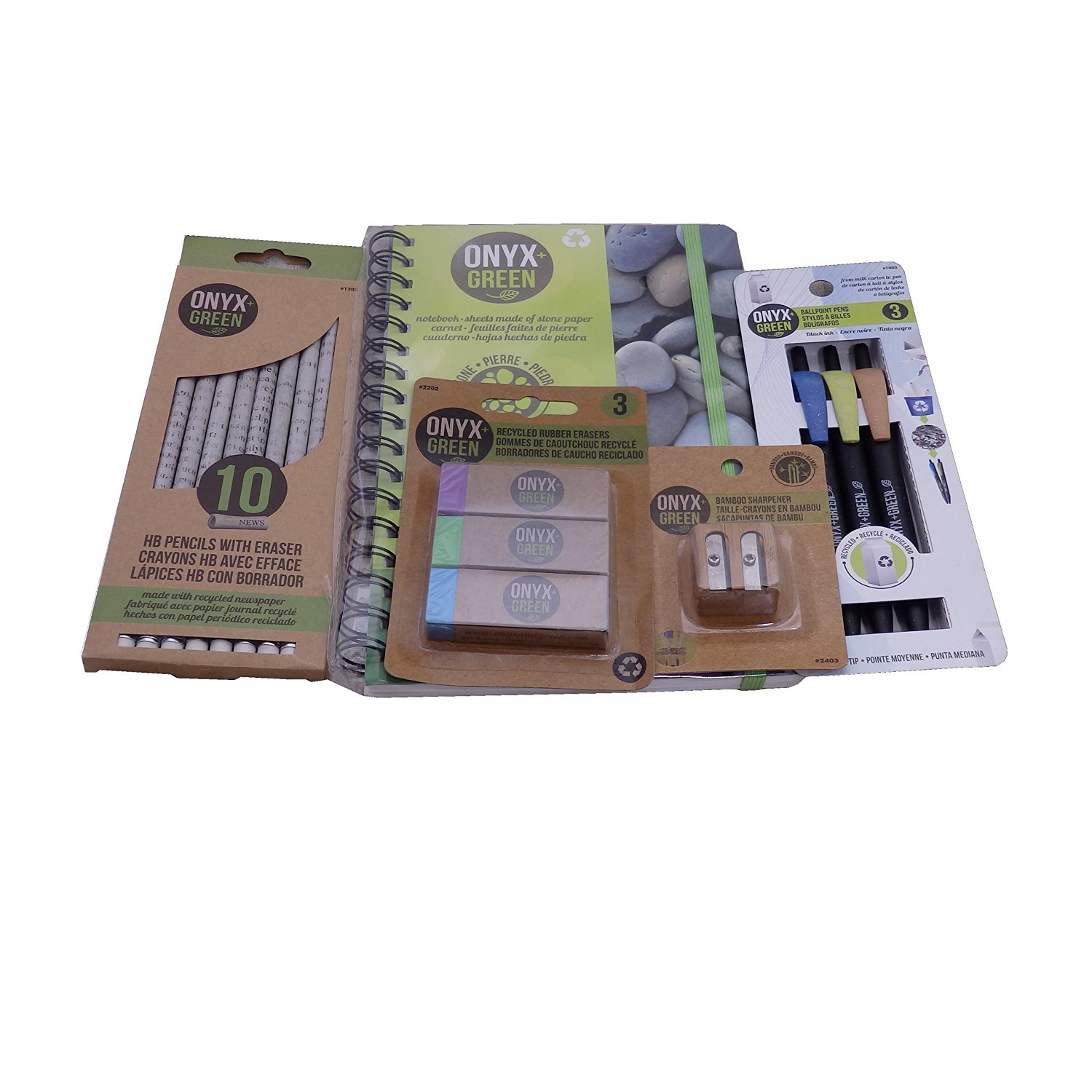 Recycled Sustainable Materials Green Eco Friendly School Supplies Kit - Pens Pencils Erasers Sharpener and Stone Paper Notebook