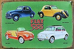 Yours Dec Metal Tin Sign FIAT 500 Retro Vintage Tin Sign Metal Tin Sign, Wall Decorative Sign 812inch
