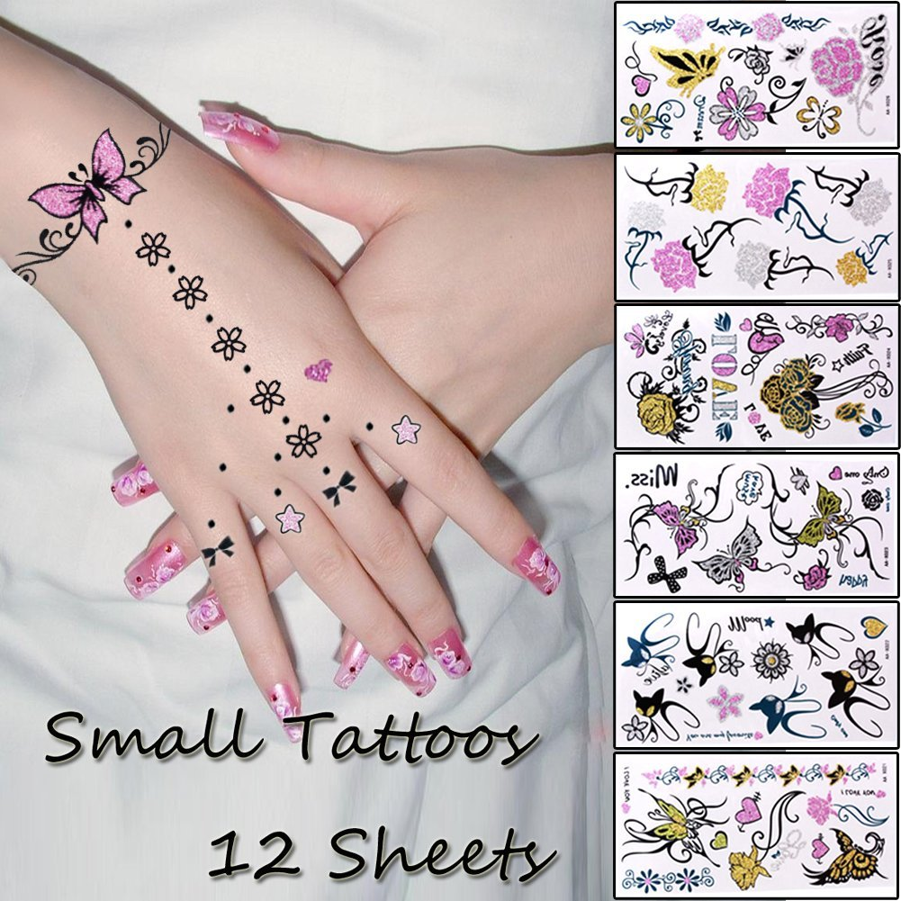 Buy 12 Sheets Temporary Tattoo Body Art Stickers Removable Waterproof Small Tattoo For Ear Leg Hand Neck Arm Feet Patten Type Butterfly Flower Cat Rose Tattoo In Cheap Price On Alibaba Com