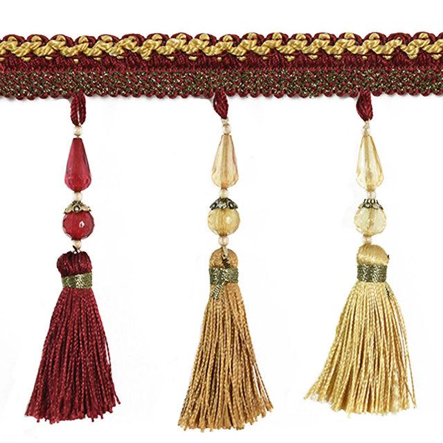 Zeagro Glands Pendentif Frange Perles Applique Tresse Ruban Couture Bordure pour Rideau Oreiller Table Mariage D/écor/é 12m