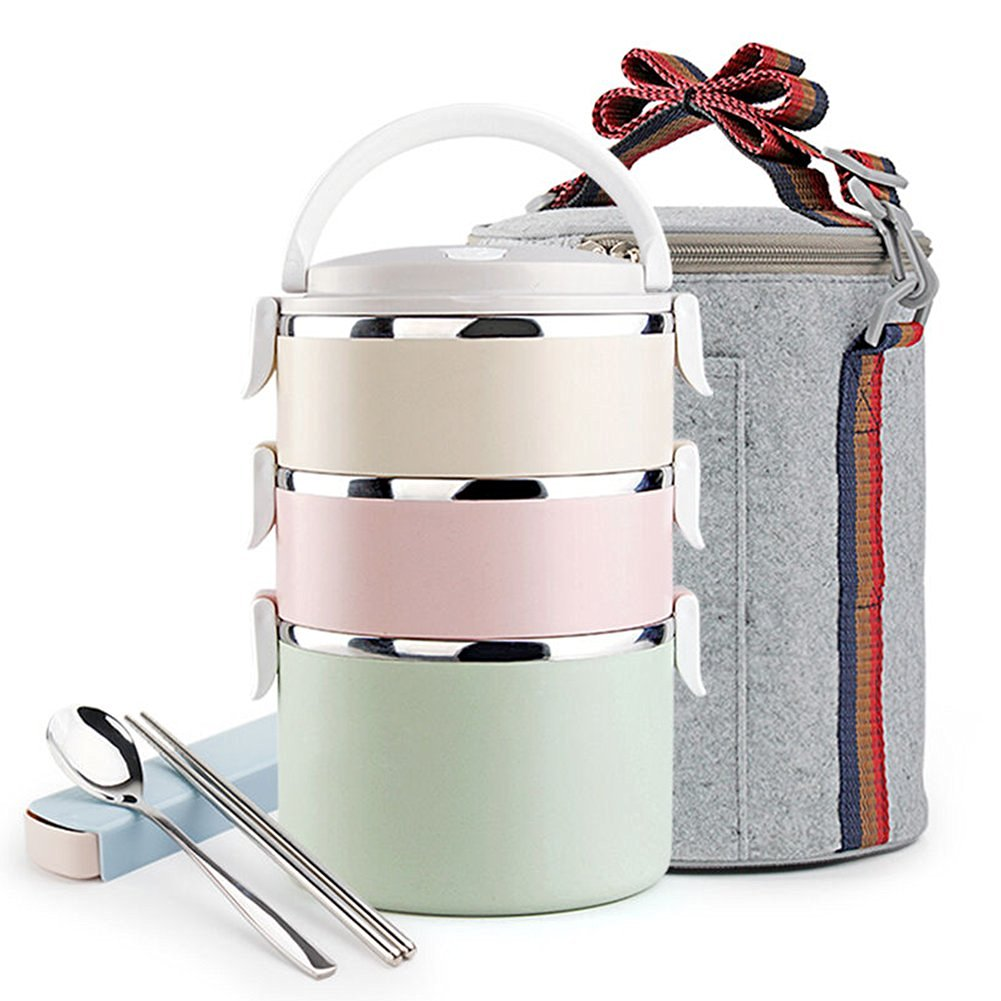 8bde2be6bb07 Buy Bento Lunch Box Set Stainless Steel Bento Box Tote Thermal Bag ...