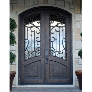 Arch round top residential cheap steel double wrought iron entry doors