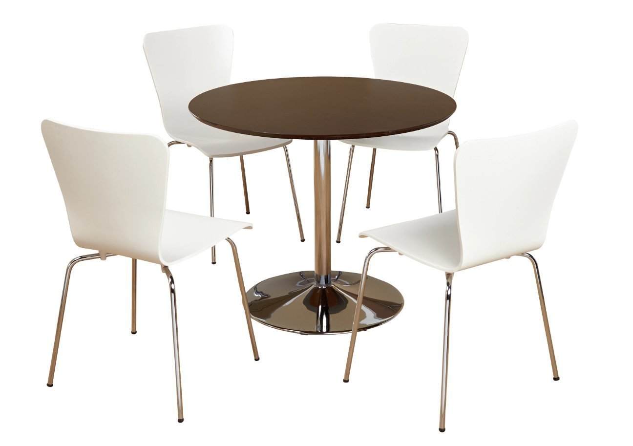 5 Piece Modern Dining Set With MDF Wood, White Finish and Chrome Base. Displays Elegant Contemporary Feel. Includes 1 Round Table 4 Stackable Chairs Perfect for Kitchen Small apartment, dorm or loft