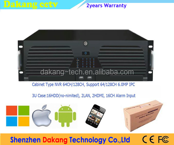 DAKANG 64ch128ch NVR,16* HDD NVR,Plug and Play,ONVIF2.4,1*E-SATA,2*HDMI,2*RJ45,3U Case Network Video Recorder