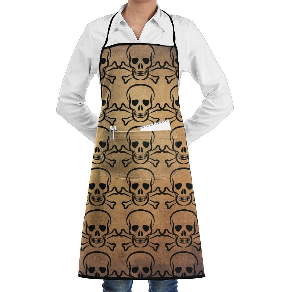 Leisue Pirate Skull Crossbones Apron Lace Adult Mens Womens Chef Adjustable Polyester Long Full Black Cooking Kitchen Aprons Bib With Pockets For Restaurant Baking Crafting Gardening BBQ Grill