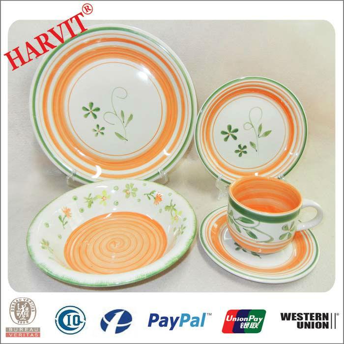 30 pcs ronde chine vaisselle ensemblescouleur peint la main cramique dner ensemble - Vaisselle Colore Pas Cher