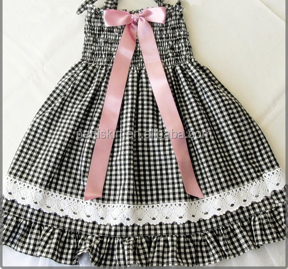 hot sale!girls black gingham ruffled dress with ribbon bow smocked baby clothes wholesale