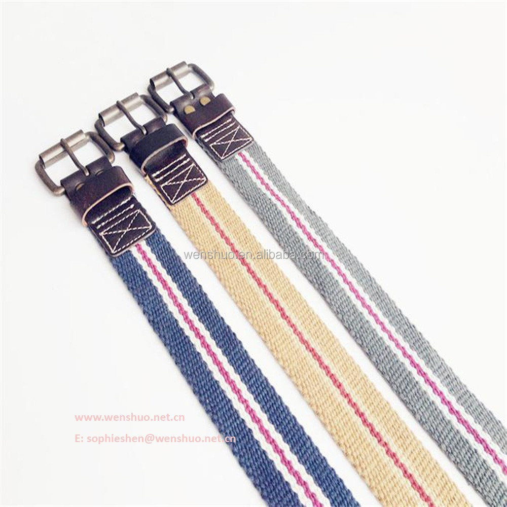 2015 Newest Desgin Striped Canvas Belt Webbing Men Women Belt