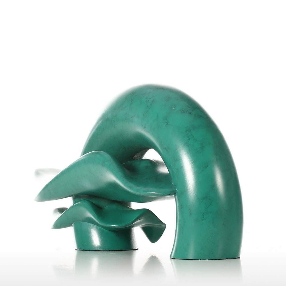 Modern New Design High Quality Wholesale Resin Craft Abstract Green Figurines For Home Hotel Decoration