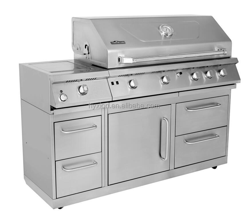 Freestanding stainless steel outdoor barbecue kitchen with fridge