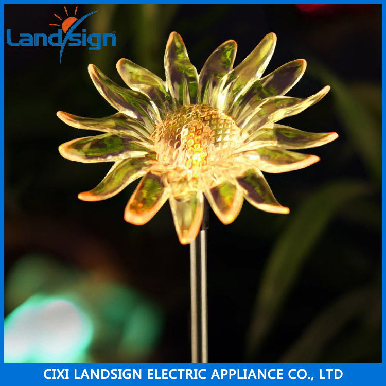 Solar powered garden stake light with vivid figurines in life size -- sunflower