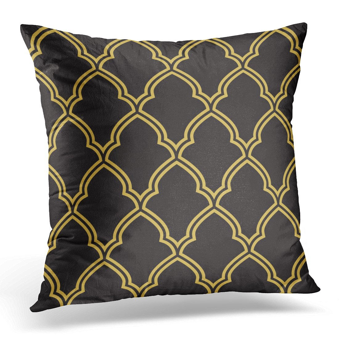 Emvency Throw Pillow Cover Black Damask Geometric Morrocan Trellis Pattern Inspired By Old Ornaments Moroccan Lattice Decorative Pillow Case Home Decor Square 18x18 Inches Pillowcase