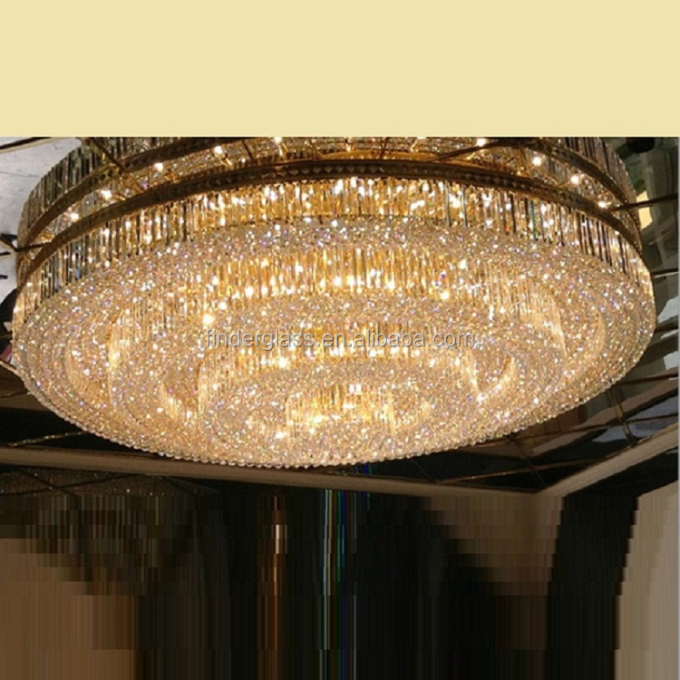 Luxury crystal hanging chandelier / pendant lamps big modern light gold