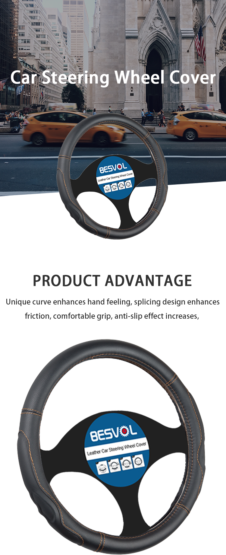 FX-P-180906 black breathable PVC leather car steering wheel cover