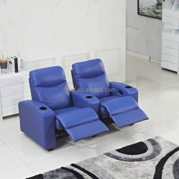 New Design Fashion Blue Color Leather Heated Recliner Sofa Chair Cinema  Furniture Movie Theater Reclining Chairs