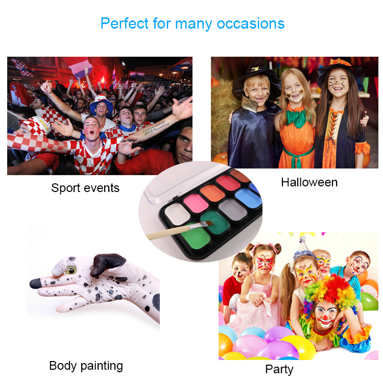 CE Certified Food Grade Football Face Paint Color World Cup Flag Face Painting Palette