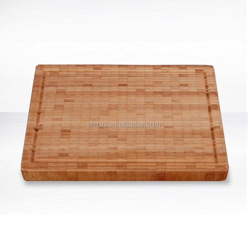 Kitchen Large Wood Cutting Board Handcrafted End-Grain Bamboo Cutting & Presentation Board Antibacterial Butcher Block