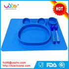 HOT selling Feeding Silicone Placemat Suction Plate for Toddlers Microwave Safe Non-slip Dinnerware Tray with Dividers