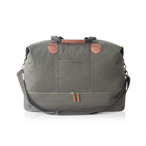New Design Waxed Canvas Leather Duffel Bag,Canvas Leather Weekend Gym Travel Bag