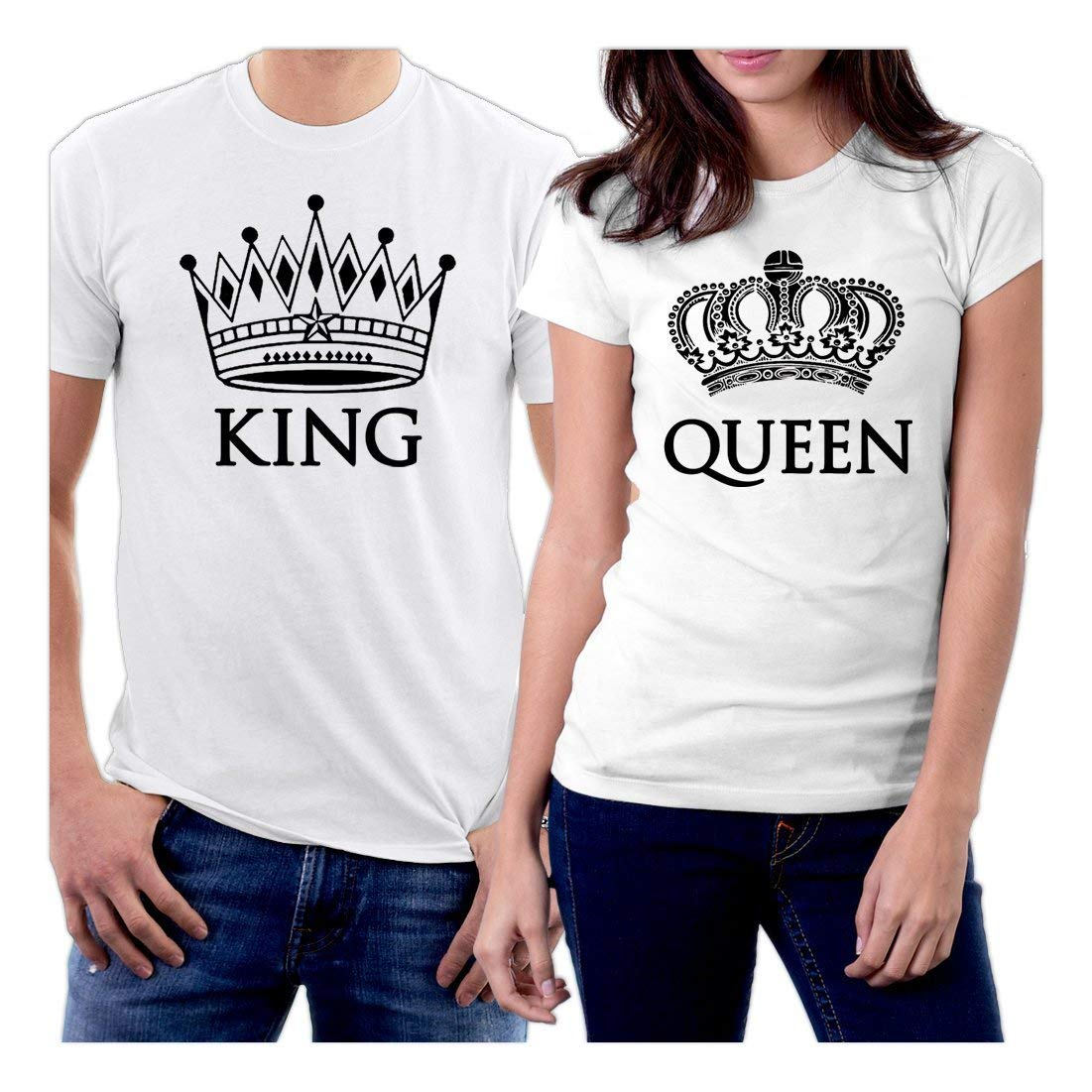 5f749087b YJQ Couple T-Shirts Galaxy King Queen Matching Short Sleeve Top Shirts  null. picontshirt King and Queen Couple T-Shirts White Crowns