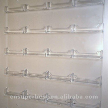 24 Pocket Clear Vertical Acrylic Wall Mount Business Card Holder